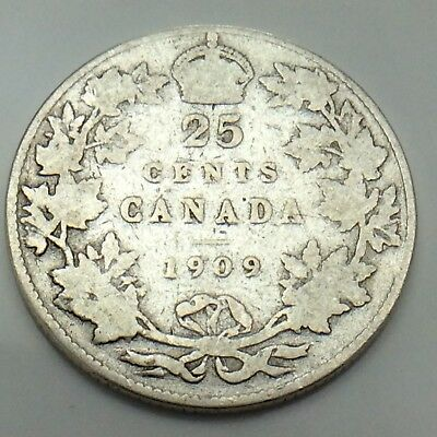 1909 Canada 25 Twenty Five Cents Quarter King Edward VII Canadian Coin G130