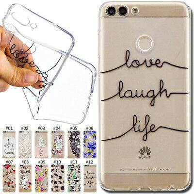For Huawei P Smart/Enjoy 7S Cute Clear Rubber Soft Skin TPU Silicone Case Cover