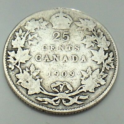 1909 Canada 25 Twenty Five Cents Quarter King Edward VII Canadian Coin G133