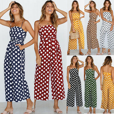Womens Polka Dot  Wide Leg Jumpsuit Ladies Summer Strappy Loose Casual Playsuit