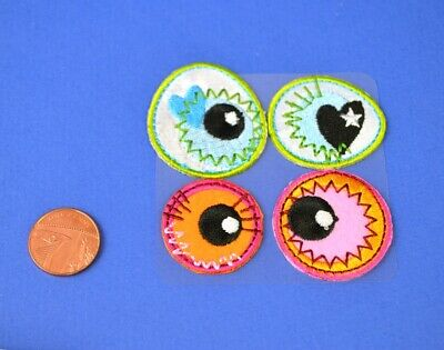 SALE - 3cm Iron On Crazy Eyes Fabric Eyes for Crafts - 4pk | Wiggly Wobbly Eyes