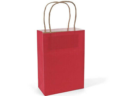 12 Medium Red Kraft Bags for Gifts or Crafts - 230mm Tall | Kids Party Loot Bags