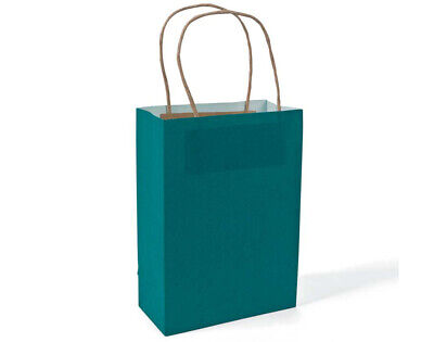 12 Medium Turquoise Kraft Bags for Gifts or Crafts - 230mm Tall