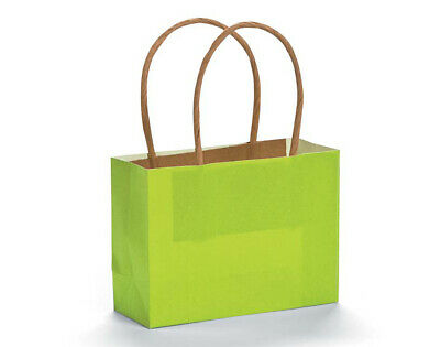 12 Small Lime Green Kraft Bags for Gifts or Crafts - 115mm Tall