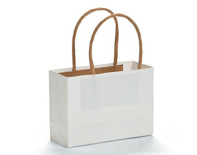 12 Small White Kraft Bags for Gifts or Crafts - 115mm Tall
