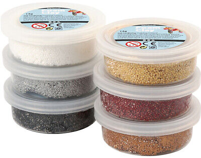 Set of 6 Assorted Metallics Foam Clay Tubs for Kids & Adults Modelling Crafts