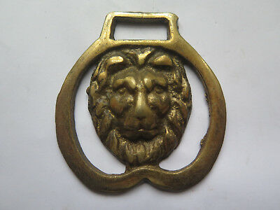 HORSE BRASS of a LIONS HEAD in EXCELLENT DETAIL c1970s