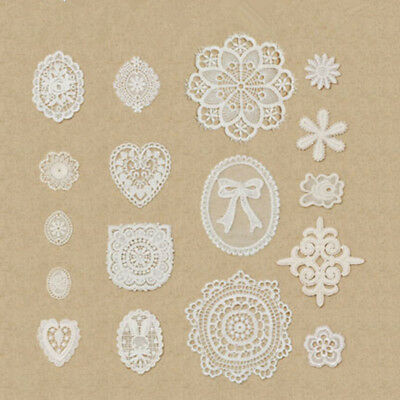 1pc Embroidered Lace Applique Cotton Fabric Trim Clothes Doily Sewing Crafts DIY
