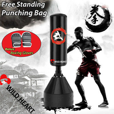 Free Standing 155cm Punching Bag Boxing Gloves Home Gym MMA Target Dummy Kick