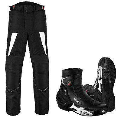 Motorbike Motorcycle Waterproof Cordura Pant Trouser Leather Racing Shoes Boots