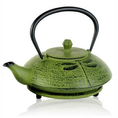Cast Iron Green Teapot 600ml Dragonfly Antique Tea Chinese Japanese Vintage