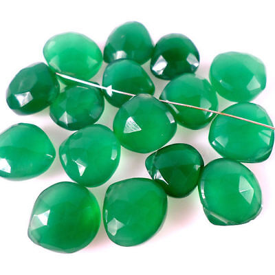 95 Carat+/16 Pcs Natural High Polish Micro Cut Top Green Onyx Pear Drilled Beads