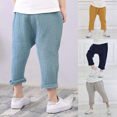 2018 Kids Baby Boys Harem Pants Linen Trousers Toddler Leggings Sweatpants 1-6T