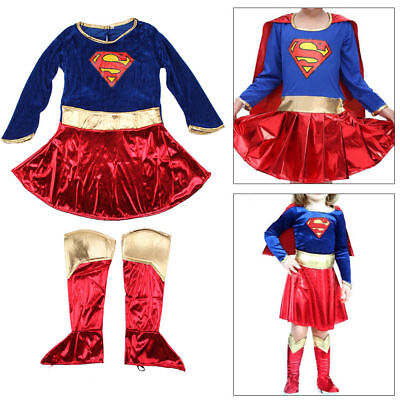 Girls Fancy Dress Superhero Supergirl Costume Party Outfit Cover Book Day New