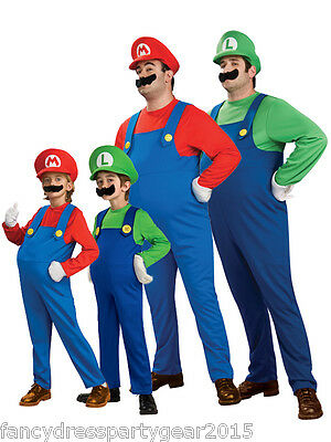 Mens Adult Kids Super Mario & Luigi Fancy Dress set Cosplay Halloween Costume