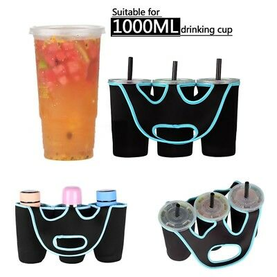 Insulated Water Bottle Cup Holder Tote Bag Coffee Drink Beverage Carrier 3 in 1