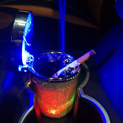 LED Light Glowing Car Air Vent Ashtray Cigarette Ash Tray Container Cup Holder