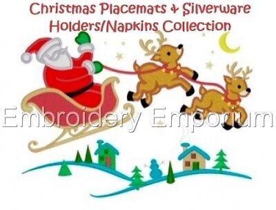 Xmas Placemats & Silverware Holders/napkins - Machine Embroidery Designs On Cd