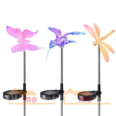 3PCS LED Solar Garden Lights Color Changing Wireless Stainless Steel for Yard