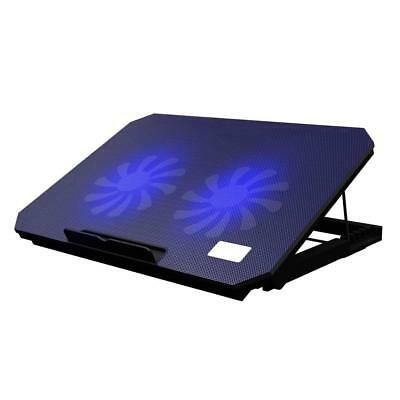 Laptop Cooling Cooler Pad 2x Silent Fans Adjustable Height Stand