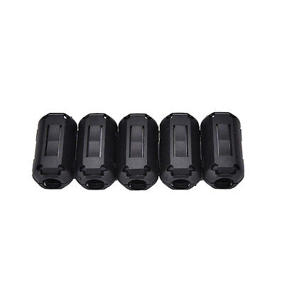 5x 9mm Noise Suppressor EMI RFI Clip Choke Ferrite Core Cable Filter Black QY