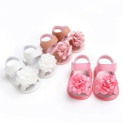 Infant Kids Toddler Baby Girl Flower Summer Slip-On Sandals Soft Sole Crib Shoes