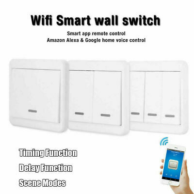 WIFI Smart Light Lamp Wall Switch Touch Remote Control For Alexa/Google Home