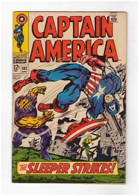Captain America # 102  The Sleeper Strikes !  grade 7.0 scarce book !!