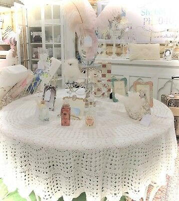 "Vintage White Crochet Lace Round Tablecloth Table Cloth 70"" Round 177cm New"