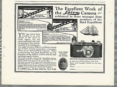 1929 LEICA camera advertisement, half page, BYRD Antarctic Expedition