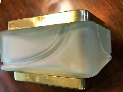 Vintage Powder Box  Houbigant Raffinee  Frosted Glass- Brass like top and base
