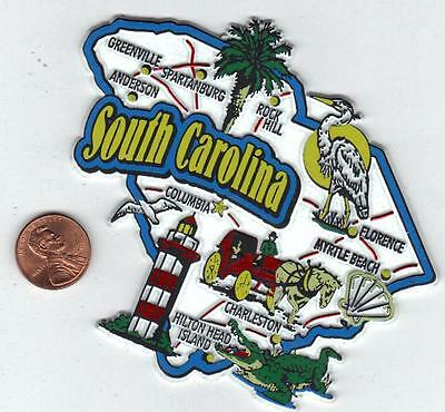 South Carolina     State  Map  Jumbo Magnet   7 Color  Charlston, Myrtle Beach