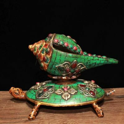 """7"""" Rare Tibet Buddhism Bronze Inlay Turquoise Shell Conch Horn Trumpet Base Set"""