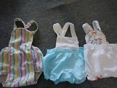 Lot W/3 Vintage Baby Bubble Rompers 0-6M Cute Blue  Horse Rainbow Diaper Cover