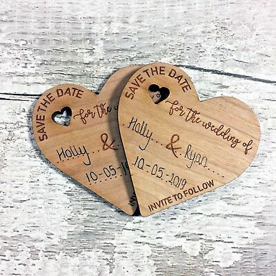 Personalised Wedding Save The Date Fridge Magnets Wooden Heart Invitation Invite
