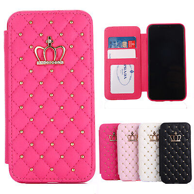 Bling Diamond Crown Flip Leather Purse Card Wallet Case For iPhone X XS XR 8 7 6