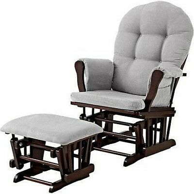 Glider Chair & Ottoman Set Microfiber Nursery Rocking Furniture Baby Rocker Gray