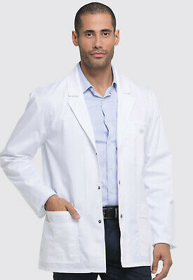 "White Dickies Scrubs Gen Flex Mens Snap Front 31""  Lab Coat 81403 DWHZ"