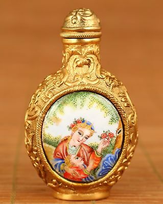 chinese Rare Copper Handmade inlay cloisonne west belle snuff bottle noble gift