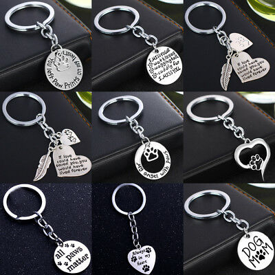 Pet Memorial Keyring Dog Cat Paw Charm Key Rings Silver Plated Keychain Pendant