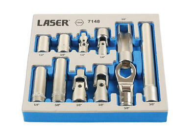 "LASER 11 Piece 1/4"" & 3/8"" Sq Dr 13mm Master Socket/Adaptor Set + Tray 7148"