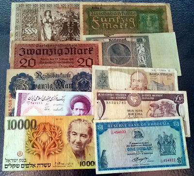 World Lot Banknotes Mix Rhodesia Germany Cyprus Israel 10,000 Sheqel and More