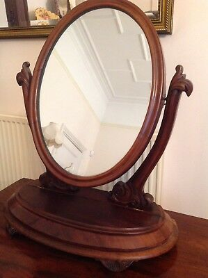 Large Victorian Walnut Oval Dressing Table Mirror                    (41)