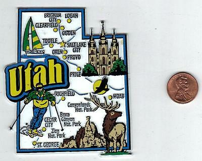 Utah  Ut State  Map Jumbo Magnet 7 Color - Salt Lake City  Ogden   Zion