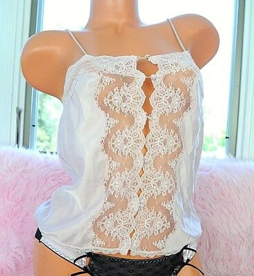 VTG Barbizon Pink Satin Exotic Scalloped Lace Sissy Camisole Half Slip Top sz S