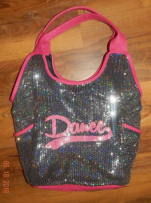 """Unbranded Glittery Sequin """"dance"""" Bag--Charcoal/pink--Very Near Excellent"""