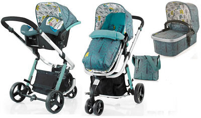 New Cosatto giggle 2 3 in 1 travel system in Fjord with car seat bag & footmuff