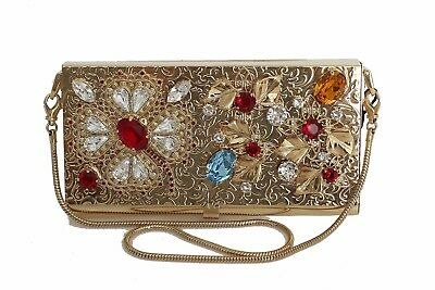 NEW DOLCE   GABBANA Bag Purse Gold Brass Crystal Clutch Evening Party 69d28bdcffeed
