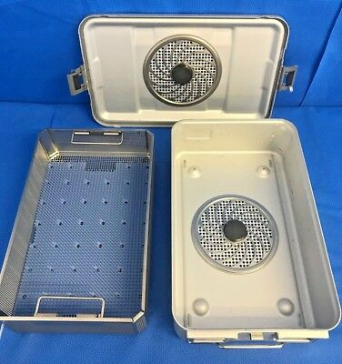 Aesculap JN741/JK789 SterilContainer 3/4 Size w/ JF254R Basket & Silicone Mat