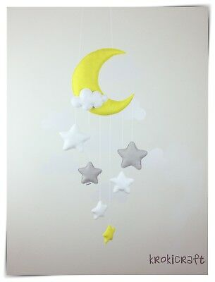 Moon and stars nursery decor/baby mobile (silver grey,yellow,white)